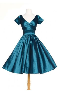 Pinup Couture- Ava Swing Dress in Turquoise Taffeta | Pinup Girl Clothing