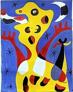 "Oil Painting on Paper by Joan Miro 18 X 44""                                                                                                                                                      More"