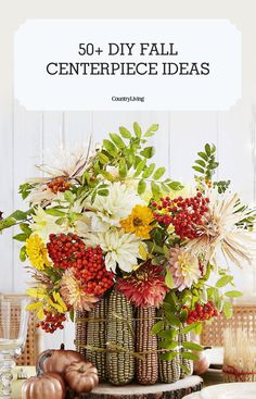 Give your dining table an autumn makeover with these stunning fall centerpiece ideas. Thanksgiving Flowers, Thanksgiving Crafts, Thanksgiving Decorations, Thanksgiving Table, Fall Door Decorations, Valentines Day Decorations, Crafts For Teens To Make, Diy And Crafts, Fall Door Hangers
