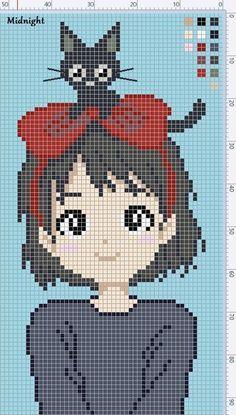 Cross Stitch Cards, Beaded Cross Stitch, Cross Stitching, Cross Stitch Embroidery, Cross Stitch Designs, Cross Stitch Patterns, Kawaii Cross Stitch, Modele Pixel Art, Pixel Art Grid