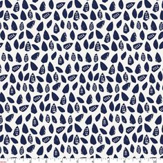 Navy Woodland Leaf Fabric By The Yard by CarouselDesignsShop