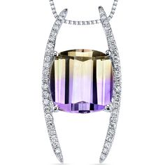 14 Kt White Gold 5 cts Ametrine and Diamond Pendant from Peora Jewelry L.A. California