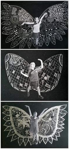 June 2015: Inspired by New York Artist Kelsey Montague's 'What Lift's You' wing murals. Silver pen on black.: Ecole Art, Collaborative Art, Art Lessons Elementary, Elementary Schools, Middle School Art, High School Art, School Art Projects, Silver Pen, Art Activities