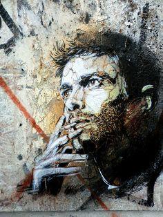 by street artist C215 - Marseille- brilliant French Street artist. Street art, smoking, cigarette, male, man, beard, guy, smoker, wondering, expression, beautiful, graffitti, photo, wall.