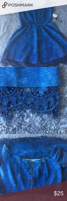 NWT XOXO Jean dress with lace Size large jean dress with lace bottom detail, zip up back XOXO Dresses Mini