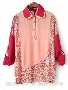 Red Chiffon Lapel Long Sleeve Oversized Flower Print Blouse -$22.69