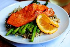 Maple Grilled Salmon with Cauliflower Rice is fresh salmon filets marinated in a sweet and sour mix of rice vinegar, maple syrup, and orange juice, then grilled until tender and flaky. I am this excited to share tonight's dinner of Maple Grilled Salmon and Cauliflower Rice with you!! But first, hi. How was...