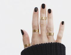 Yellow Gold Thick Stacking Rings Lifestyle BUT in silver