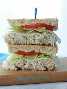 Savory Tuna Sandwich on sourdough - Mayo, Pickle Juice, Pickle, Celery, Red Onion, Pepper, Onion Powder, Garlic Powder, Dill, Lettuce, Tomato & Cheese