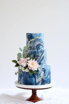 textured navy marble fondant with gold leaf and sugar flowers including su. Stone textured navy marble fondant with gold leaf and sugar flowers including su.,Stone textured navy marble fondant with gold leaf and sugar flowers including su. Fondant Wedding Cakes, Fondant Cakes, Cupcake Cakes, Blue Wedding Cakes, Crazy Wedding Cakes, Cupcakes, Purple Wedding, Gold Wedding, Wedding Rings