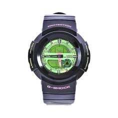 Casio Men's G-Shock Black Resin Green Ana-Digi Dial Watch - deal bedding G Shock Black, Watches For Men, Wrist Watches, Fitness Watch, Pink Accents, Casio Watch, Digital Watch, Resin, Mineral Water