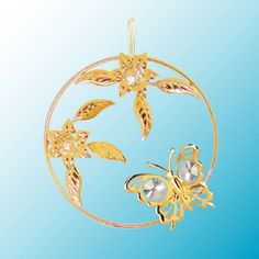 Butterfly W Flower Circle Hanging Sun Catcher or Ornament With Clear Swarovski Austrian Crystals *** Check this awesome product by going to the link at the image.