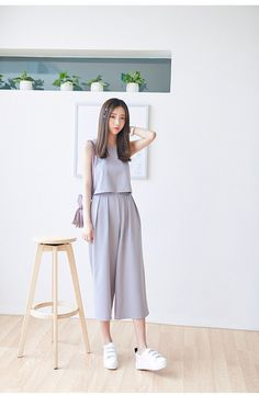 Korean Fashion - Round neck vest + Wide pants suit - AddOneClothing - 5