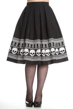 Hell Bunny Clara Skull 50s Pinup Skirt
