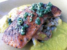 Pan-seared King Salmon, served over Flageolet beans and shrimp