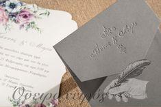 Προσκλητήριο Γάμου φλοραλ με γκρι φάκελο