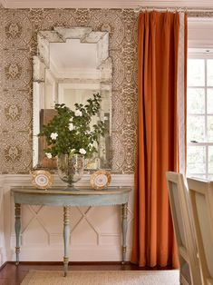 """Dining room: Venetian mirror, Swedish demi lunes in soft blues, salmon coral velvet drapes with Samuel & Sons trim and Quadrille's """"Veneto"""" wallpaper. Drapery Rods, Curtain Rods, Velvet Drapes, Terracota, Foyer Decorating, Decorating Ideas, Decor Ideas, Custom Curtains, Elements Of Style"""
