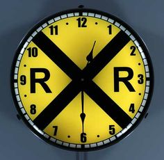 Railroad Crossing Lighted Clock buy on ColmanStreetClocks.com