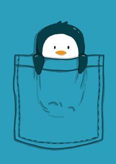 Penguin in a pocket print - So cute.