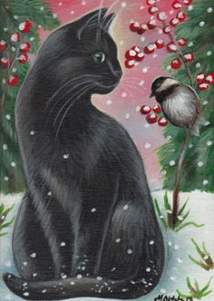 Black Cat & Chickadee - Winter Painting