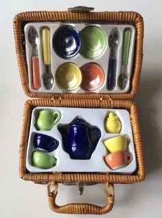 Girls Ceramic Tea Set In Picnic Basket Solid Fiesta Colors Teapot Sugar Creamer | Collectibles, Decorative Collectibles, Tea Pots, Sets | eBay!