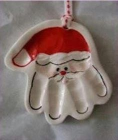 Baby hand print made into santa ornament !