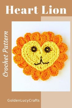 Learn how to make this cute crochet lion applique from hearts! Free crochet pattern, heart-shaped, safari animal applique Crochet Lion, Crochet Unicorn, Cute Crochet, Crochet Motif, Crochet Crafts, Crochet Projects, Crochet Patterns, Crochet Appliques, Half Double Crochet