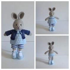 Hand Knitted Little Bunny Rabbit in Blue Knitted Stuffed Animals, Knitted Bunnies, Knitted Animals, Knitted Dolls, Crochet Toys, Animal Knitting Patterns, Little Cotton Rabbits, Bunny Toys, Diy Arts And Crafts