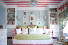 I think I pinned this already. Oh well! For Mak. Pale aqua walls, pink white stripe ceiling. Maybe white walls and aqua and white stripe ceiling?