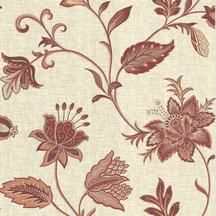 Red and Beige Jacobean Wallpaper from La Belle Maison Collection by Brewster Wallcovering