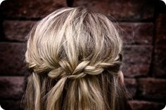 Waterfall braid, but just around the whole head.  A friend of mine tried this and I loved it:)