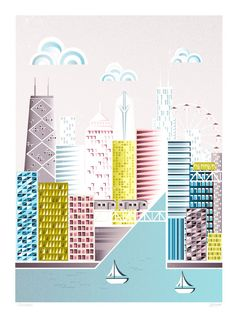 CHICAGO, America - American City Art Print A4 by lauraamiss on Etsy