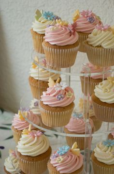Pastel Flower & Butterfly Cupcake Tower