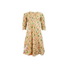Middy Poppy Dress In Vintage Climber ($58) ❤ liked on Polyvore featuring dresses, holiday dresses, vintage cocktail dresses, 3 4 length sleeve dress, midi cocktail dress and vintage dresses