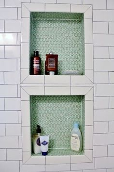 penny tile, shower insert.... maybe add a pop of color here