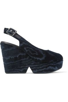 Robert Clergerie - Dylantin Velvet Platform Sandals - Midnight blue - IT39.5