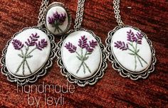 el sanatları Since the lavenders have reached their owners, I can share them now ~ you can reach dm to place an order ~. Ribbon Embroidery Tutorial, Silk Ribbon Embroidery, Embroidery Jewelry, Embroidery Art, Cross Stitch Embroidery, Embroidery Patterns, Felt Necklace, Clay Earrings, Pics Art