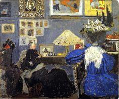 Edouard Vuillard - femme en bleu ( également connu sous le nom À l Ransons' ), Huile sur panneau - 49 x 58 cm - 1895