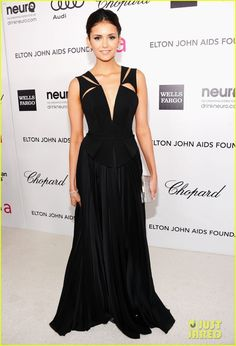 38b3cc061df9ee Nina Dobrev and J. Mendel Fall 2012 RTW Black Cutout Gown - Nina Dobrev  arrives at the Annual Elton John AIDS Foundation Academy Awards Viewing  Party at The ...