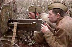Soviet machine gunners operating a Maxim M1910 on the Kalinin Front 1942.