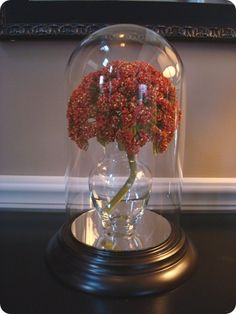 Clock cloche turned display.  You can change the flowers or accessories inside with the changing seasons and holidays.