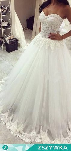 Zobacz zdjęcie Wedding Dresses Sweetheart Lace Trim Sheer Elegant Bridal Gowns w pełnej rozdzielczości
