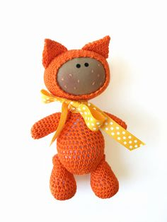 Baby Cat, Baby Fox, Crochet Animal, Crochet Fox, Crochet Cat, Orange Kitty, Knitted Kitty, Animal Toy, Soft Toy, Rag Doll, Baby First Doll by…