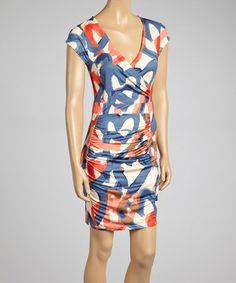 Loving this Coral Abstract Ruched Surplice Dress on #zulily! #zulilyfinds