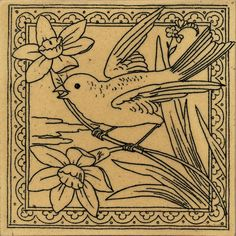 An unusual outline style. Bird on flowers (perhaps daffodils?) I like the way the bird extends over the decorative frame.  On reverse: Minton Hollins & Co; Patent Tile Works Stoke on Trent No.2