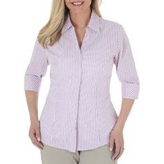 Riders By Lee Women's Career Essentials Button-Front 3/4 Sleeve Shirt With Flattering Princess Seams