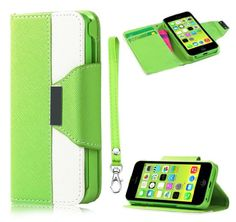 myLife Gecko Green + Brilliant White {Modern Design} Faux Leather (Card, Cash and ID Holder + Magnetic Closing + Hand Strap) Slim Wallet for...