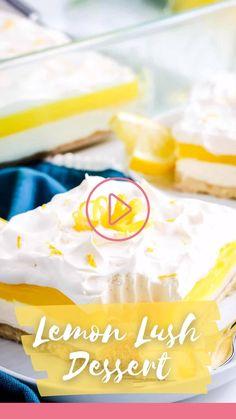 Lemon Lush Dessert, Lemon Dessert Recipes, Pie Dessert, Lemon Recipes, Fruit Recipes, Delicious Desserts, Frozen Desserts, Summer Desserts, Summer Recipes