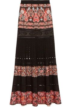 Roberto Cavalli - Jacquard And Pointelle-knit Maxi Skirt - Black - IT44