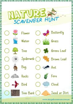 Nature Scavenger Hunt- I think this would be a fun activity to do in the preschool because the kids love to go outside and this encourages them to look/learn about things all around them. Fall Preschool Activities, Nature Activities, Summer Activities For Kids, Summer Kids, Sensory Activities, Free Summer, Outdoor Activities For Preschoolers, Family Activities, Activities For Children